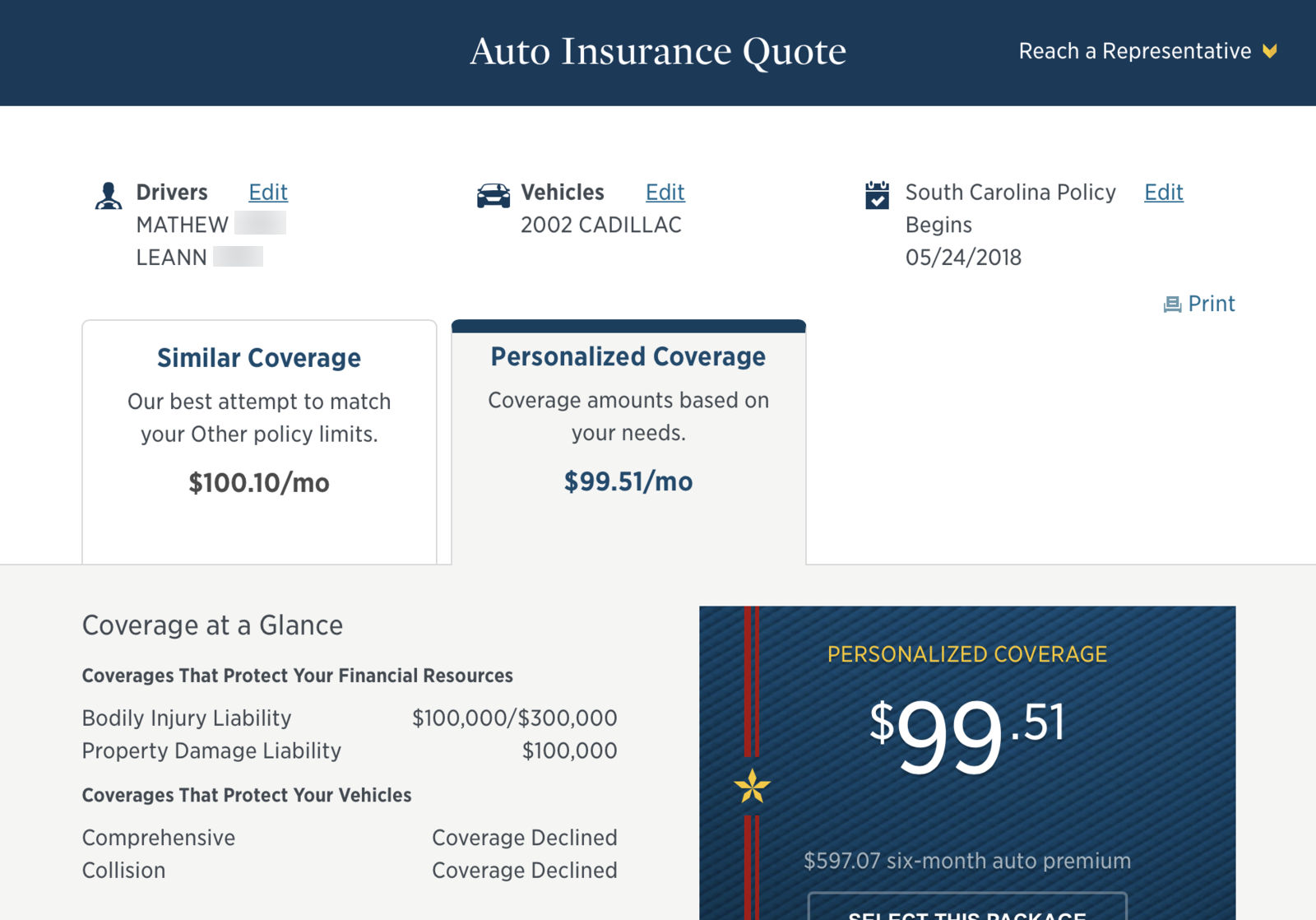 USAA quote results