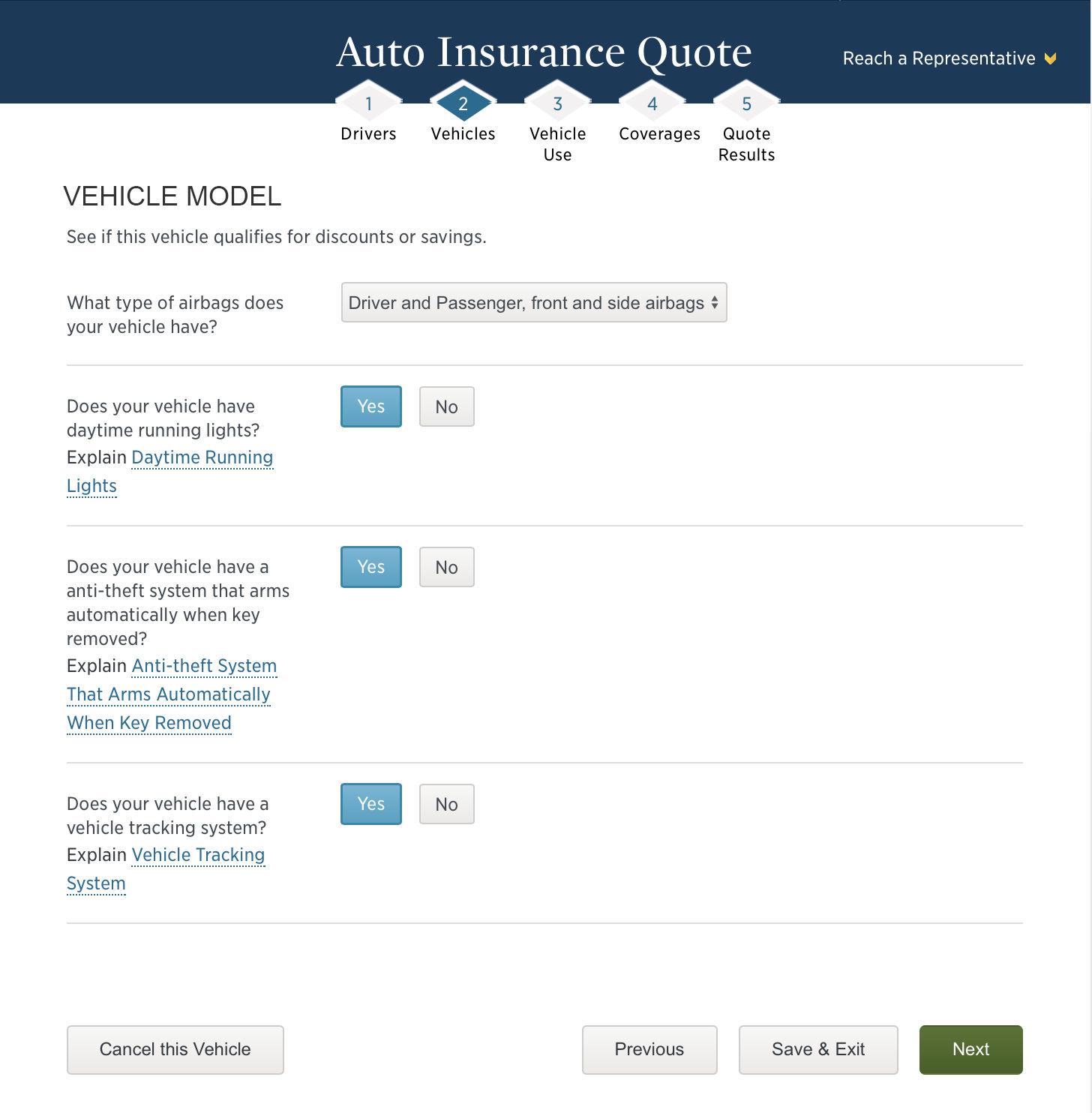 USAA vehicle model information